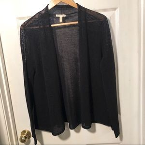 Eileen Fisher Black Knit cardigan sweater eyelet